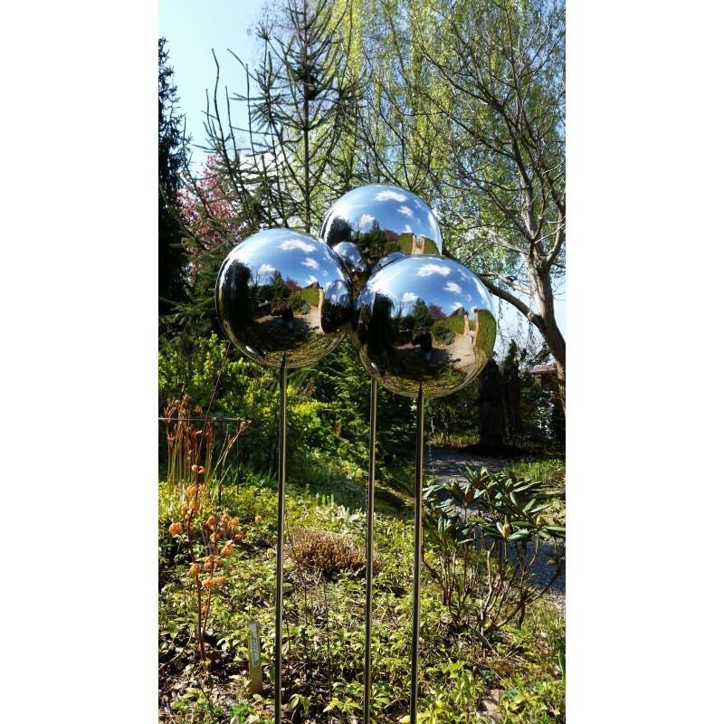 Srebrna kula na piku ze stali nierdzewnej średnica 25 cm