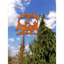 SOWA - dekoracyjna rdza ogrodowa na pręcie