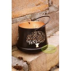 Lampion świecznik metalowy czarny 8,5 cm