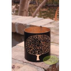 Lampion świecznik metalowy czarny 10 cm