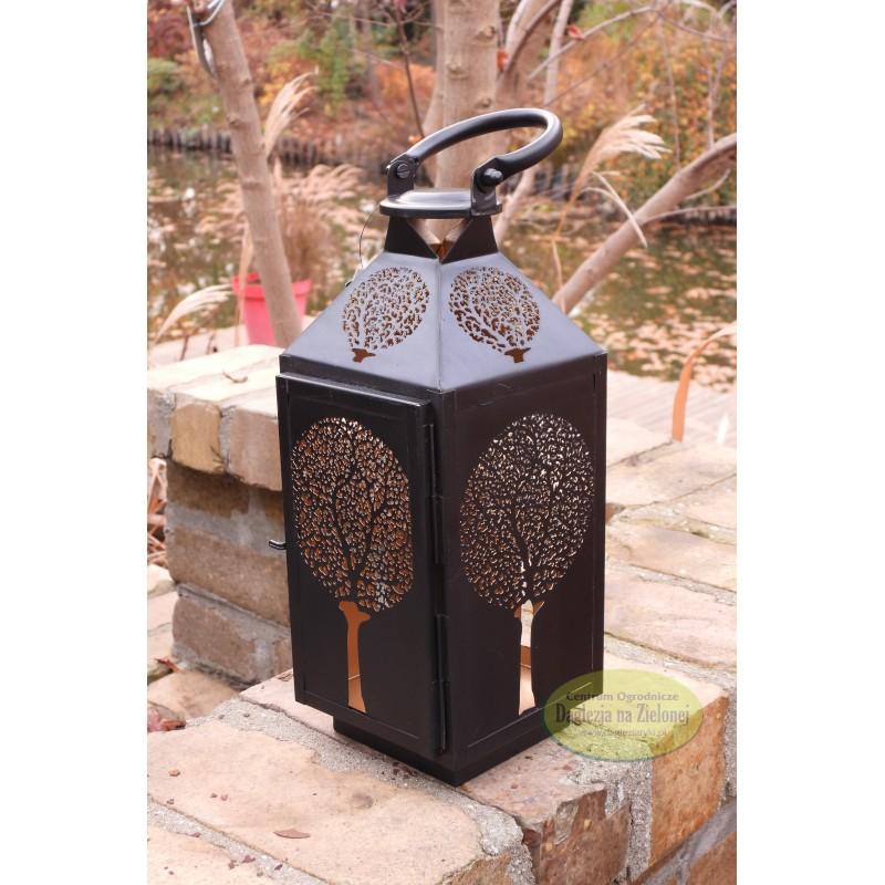 Lampion latarnia metalowy czarny 30 cm