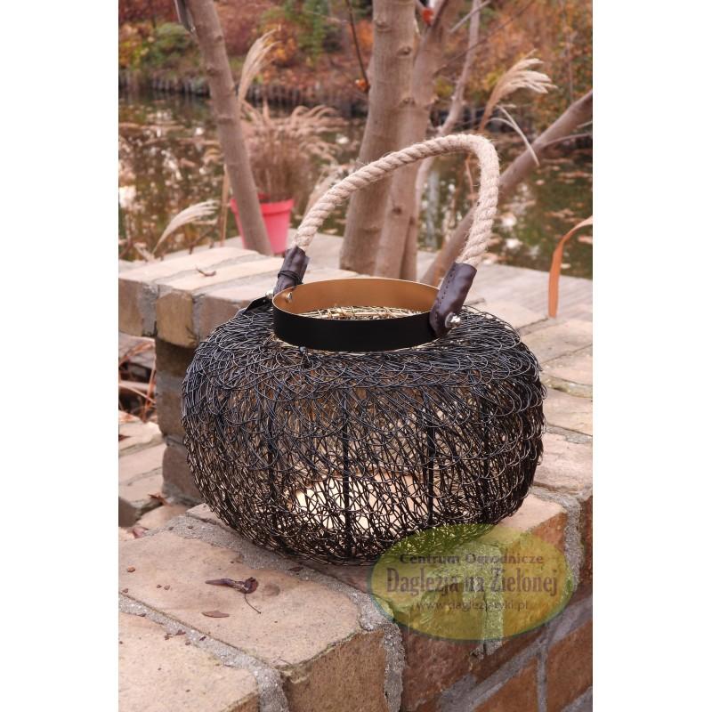 Lampion druciany metalowy czarny wysokość 17 cm