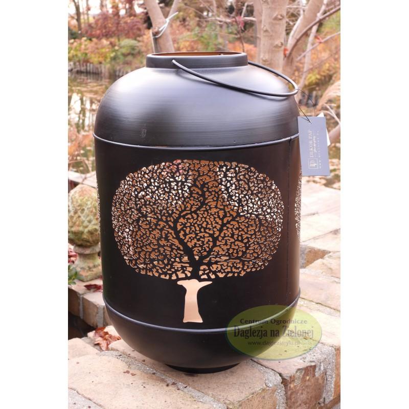 Lampion latarnia metalowy czarny 31 cm