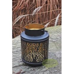 Lampion świecznik metalowy czarny 20,5 cm