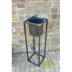 Kwietnik metalowy stojak z osłonką czarny 80 cm