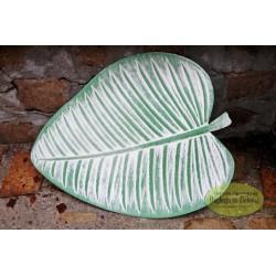 Taca biało-zielony liść 38 cm MDF