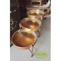Stolik metalowy składany przecierane złoto